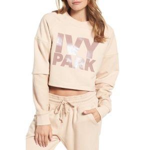 NWOT IvyPark Washed Jersey Cropped Logo Sweatshirt